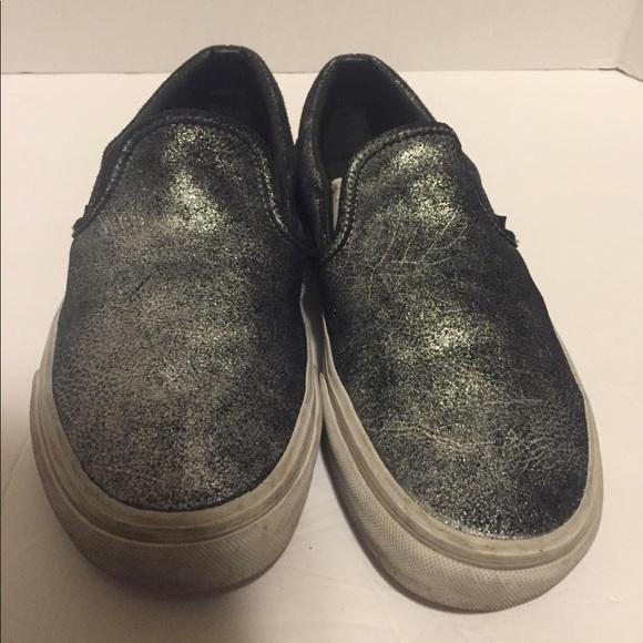 Vans Black and silver slip ons